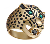 Gold leopard ring on white background