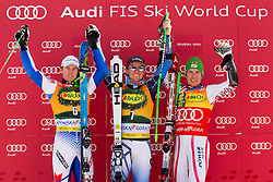 Second placed PINTURAULT Alexisof France, Winner LIGETY Tedof USA and third placed HIRSCHER Marcelof Austria during flower ceremony after the 2nd Run of 8th Men's Giant Slalom - Pokal Vitranc 2012 of FIS Alpine Ski World Cup 2011/2012, on March 10, 2012 in Vitranc, Kranjska Gora, Slovenia.  (Photo By Vid Ponikvar / Sportida.com)