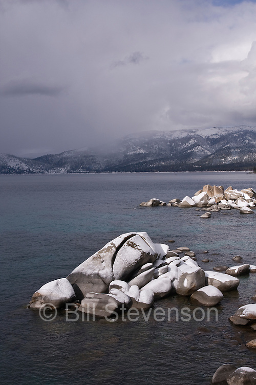 An image of fresh snow on Whale Rock of the east shore of Lake Tahoe.