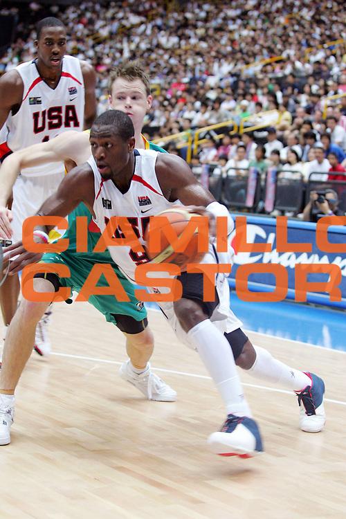 DESCRIZIONE : Saitama Giappone Japan Men World Championship 2006 Campionati Mondiali Usa-Australia <br /> GIOCATORE : Wade <br /> SQUADRA : Usa Stati Uniti America <br /> EVENTO : Saitama Giappone Japan Men World Championship 2006 Campionato Mondiale Usa-Australia <br /> GARA : Usa Australia Stati Uniti America Australia <br /> DATA : 27/08/2006 <br /> CATEGORIA : Penetrazione Sponsor Champion <br /> SPORT : Pallacanestro <br /> AUTORE : Agenzia Ciamillo-Castoria/G.Ciamillo <br /> Galleria : Japan World Championship 2006<br /> Fotonotizia : Saitama Giappone Japan Men World Championship 2006 Campionati Mondiali Usa-Australia <br /> Predefinita :