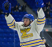 21 February 2015:  UBC forward Cole Wilson celebrates his first period goal during a CIS Men's Hockey - Canada West Quarter-Final Playoffs.  Game #3 (best of 3) between the University of British Columbia Thunderbirds and the University of Manitoba Bisons at Mitchell Arena, University of British Columbia, Vancouver, BC, Canada.    ****(Photo by Bob Frid/UBC Athletics) 2015 All Rights Reserved****