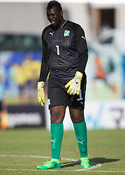 AUBAGNE, FRANCE - Tuesday, May 30, 2017: Ivory Coast's goalkeeper Abou Niang during the Toulon Tournament Group B match between Bahrain and Ivory Coast at the Stade de Lattre-de-Tassigny. (Pic by Laura Malkin/Propaganda)