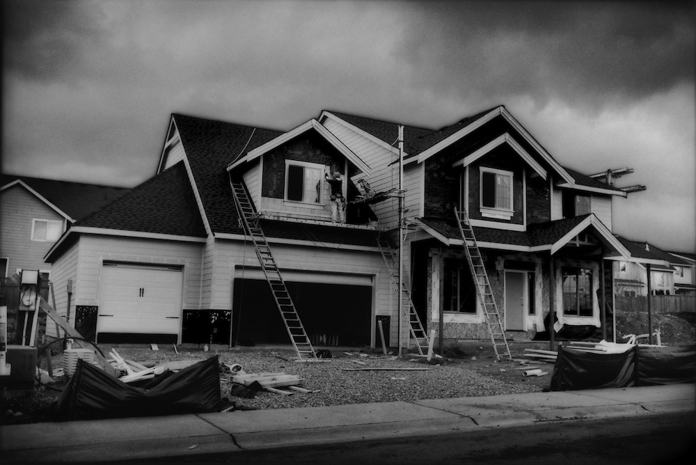 There is a suburban housing boom in and around Orting, set in a wide valley where two rivers fed by Mt. Rainier converge.  If Mt. Rainier were to erupt, Orting might be hit harder than any other town by fast-flowing lahar mudflows.  Washington State, USA