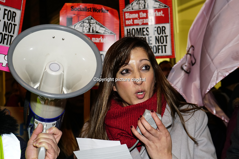 Speaker Rebecca Kingsley against Southwark Council Planning, social cleaning and fake social rent on 16th January 2018 outside Southwark Council, London, UK.