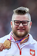 Great Britain, London - 2017 August 12: Pawel Fajdek (Agros Zamosc) of Poland poses with his gold medal in men's hammer throw while awarding ceremony during IAAF World Championships London 2017 Day 9 at London Stadium on August 12, 2017 in London, Great Britain.<br /> <br /> Mandatory credit:<br /> Photo by © Adam Nurkiewicz<br /> <br /> Adam Nurkiewicz declares that he has no rights to the image of people at the photographs of his authorship.<br /> <br /> Picture also available in RAW (NEF) or TIFF format on special request.<br /> <br /> Any editorial, commercial or promotional use requires written permission from the author of image.