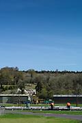 Henley on Thames. United Kingdom.   Henley Royal Regatta, construction gets underway for  the Stewards Enclosure. 2018 Henley Royal Regatta, Henley Reach.   <br /> <br /> Wednesday  18/04/2018<br /> <br /> [Mandatory Credit: Peter SPURRIER:Intersport Images]<br /> <br /> Leica Camera AG  M9 Digital Camera  f  1/250sec  mm  8.3MB