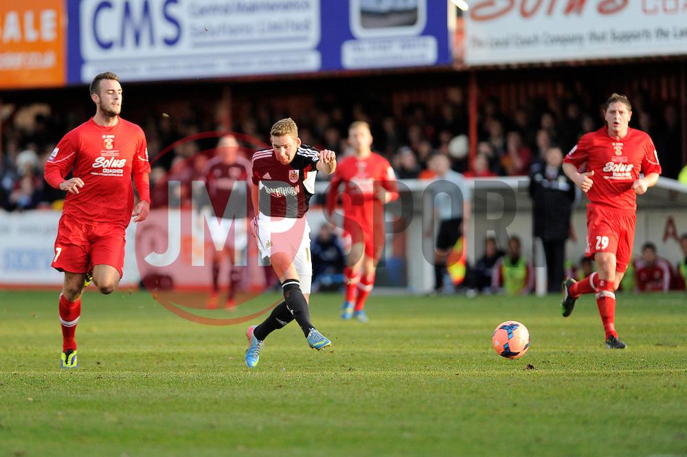 Bristol City's Scott Wagstaff takes a shot at goal. - Photo mandatory by-line: Dougie Allward/JMP - Tel: Mobile: 07966 386802 08/12/2013 - SPORT - Football - Tamworth - The Lamb Ground - Tamworth v Bristol City - FA Cup - Second Round