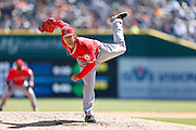DETROIT, MI - APRIL 19: C.J. Wilson #33 of the Los Angeles Angels pitches against the Detroit Tigers during the game at Comerica Park on April 19, 2014 in Detroit, Michigan. The Tigers won 5-2. (Photo by Joe Robbins)