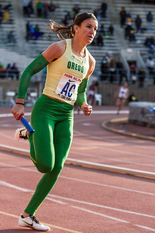 Penn Relays, college women sprint medley relay, Oregon, Jenna Prandini