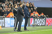 Tottenham Hostpur manager Mauricio Pochettino and Real Madrid manager Zinedine Zidane near final whistle during the Champions League match between Tottenham Hotspur and Real Madrid at Wembley Stadium, London, England on 1 November 2017. Photo by Matthew Redman.