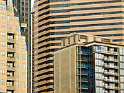 Tall buildings block out the sky in downtown Seattle, Washington, USA.