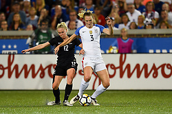 September 19, 2017 - Cincinnati, OH, USA - Cincinnati, OH - Tuesday September 19, 2017: Betsy Hassett, Samantha Mewis during an International friendly match between the women's National teams of the United States (USA) and New Zealand (NZL) at Nippert Stadium. (Credit Image: © Brad Smith/ISIPhotos via ZUMA Wire)