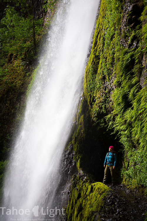 Tunnel Falls on the Eagle Creek Trail along the Columbia River Gorge in Oregon. This is a spectacular waterfall hike going past 7 falls in nearly as many miles. The lush greenery and waterfalls of the Pacific Northwest are a must visit.