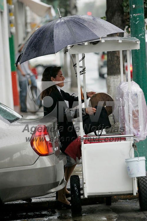 Toluca, Mex.- Una mujer trata de proteger con un paraguas su puesto ambulante ante la lluvia que ha caido en el valle de Toluca. Agencia MVT / Javier Rodriguez. (DIGITAL)<br /> <br /> <br /> <br /> <br /> <br /> <br /> <br /> NO ARCHIVAR - NO ARCHIVE