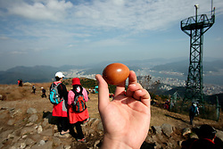 SOUTH KOREA MASAN 28OCT07 - Brown boiled egg snack atop a hill around the port city of Masan, south Korea...jre/Photo by Jiri Rezac..© Jiri Rezac 2007..Contact: +44 (0) 7050 110 417.Mobile:  +44 (0) 7801 337 683.Office:  +44 (0) 20 8968 9635..Email:   jiri@jirirezac.com.Web:    www.jirirezac.com..© All images Jiri Rezac 2007 - All rights reserved.