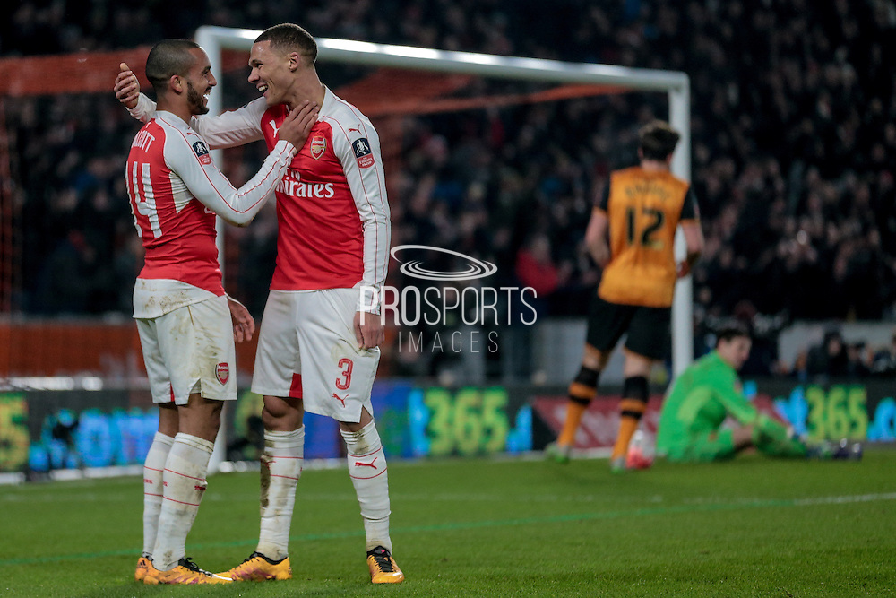 Theo Walcott (Arsenal) and Kieran Gibbs (Arsenal) celebrate arsenal's second goal. 2-0 during the The FA Cup fifth round match between Hull City and Arsenal at the KC Stadium, Kingston upon Hull, England on 8 March 2016. Photo by Mark P Doherty.