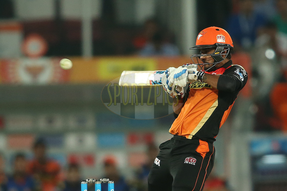 Deepak Hooda of Sunrisers Hyderabad plays a delivery behind towards the boundary during match 42 of the Vivo IPL 2016 (Indian Premier League) between the Sunrisers Hyderabad and the Delhi Daredevils held at the Rajiv Gandhi Intl. Cricket Stadium, Hyderabad on the 12th May 2016<br /> <br /> Photo by Shaun Roy / IPL/ SPORTZPICS