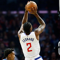 LOS ANGELES, CA - OCT 28: Kawhi Leonard (2) of the LA Clippers shoots the ball during a game on October 28, 2019 at the Staples Center, in Los Angeles, California.
