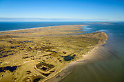 Nederland, Friesland, Terschelling, 28-02-2016; overzicht Terschelling met de slenken van de Boschplaat. Ameland aan de horizon.<br /> Wadden island Terschelling from the West, Wadden sea. <br /> luchtfoto (toeslag op standard tarieven);<br /> aerial photo (additional fee required);<br /> copyright foto/photo Siebe Swart