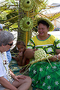 Weaving a hat, Takapoto, Tuamotu Islands, French Polynesia, (Editorial use only)<br />