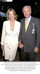 MR & MRS GALEN WESTON he is the multi-millionaire polo patron, at a dinner in London on 21st May 2001.	OOK 12