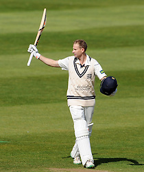 Middlesex's Adam Voges celebrates his hundred. - Photo mandatory by-line: Harry Trump/JMP - Mobile: 07966 386802 - 29/04/15 - SPORT - CRICKET - LVCC Division One - County Championship - Somerset v Middlesex - Day 4 - The County Ground, Taunton, England.