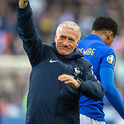 PARIS, FRANCE - March 25:  Didier Deschamps, head coach of France, salutes the supporters at the end of the game during the France V Iceland, 2020 European Championship Qualifying, Group Stage at  Stade de France on March 25th 2019 in Paris, France (Photo by Tim Clayton/Corbis via Getty Images)