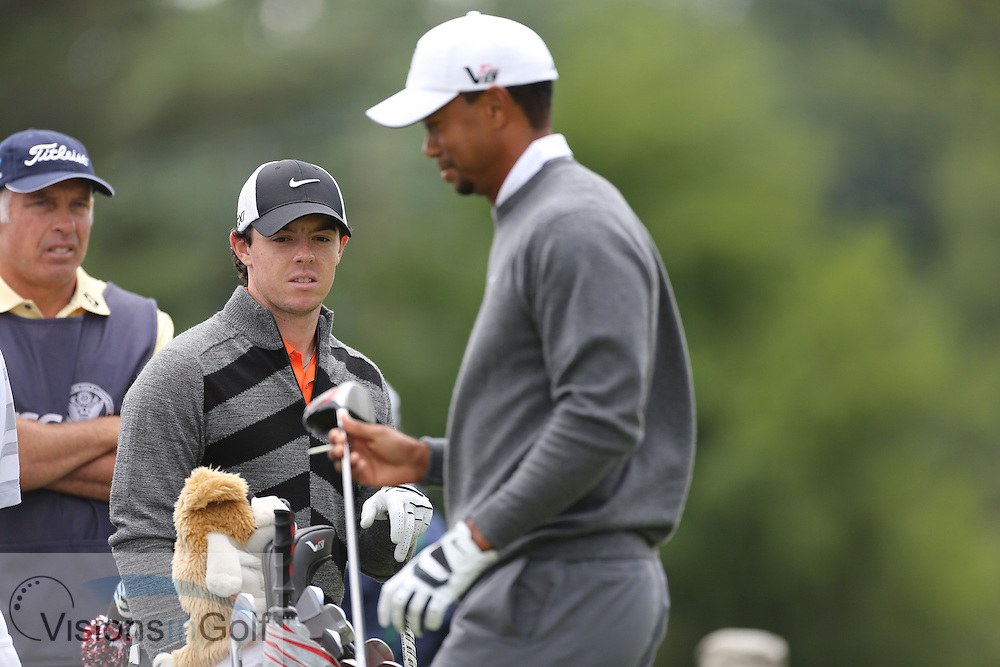 Tiger Woods Rory McIlroy <br /> on the second day at the US Open Championship, Merion East, PA. USA 2013 <br /> Picture Credit:  Mark Newcombe / visionsingolf.com