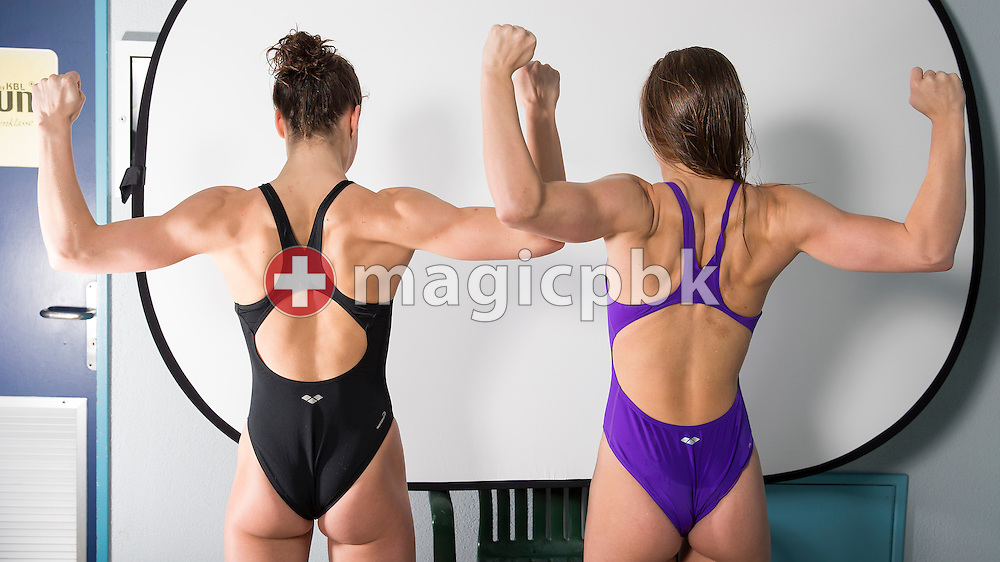 (L-R) Swimmers Svenja STOFFEL and Alexandra Sasha TOURETSKI  fool around during a portrait session during the International Swim Meet Uster 2014 in Uster, Switzerland, Sunday, Jan. 26, 2014. (Photo by Patrick B. Kraemer / MAGICPBK)