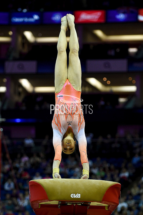 Tabea Alt of Germany (GER) on the vault on her way to winning the woman's gold medal during the iPro Sport World Cup of Gymnastics 2017 at the O2 Arena, London, United Kingdom on 8 April 2017. Photo by Martin Cole.