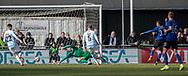 FODBOLD: Jakob Johansson (HB Køge) scorer til 0-1 under kampen i NordicBet Ligaen mellem FC Helsingør og HB Køge den 17. marts 2019 på Helsingør Stadion. Foto: Claus Birch