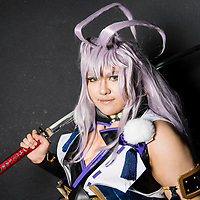 A cosplay participant dresses as Sengo Muramasa of 'Touken Ranbu' at the 19th Ani-Com and Games Fair 2017 at the Hong Kong Convention and Exhibition Centre on 28 July 2017. The annual fair showcases animation, comics, online games, electronic games and edition collectibles, and runs from 28 July to 1 August 2017 in Hong Kong, China. Photo by Yu Chun Christopher Wong / studioEAST