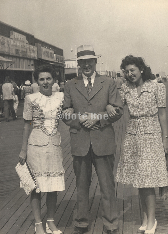 The boss on a outing with two co-workers 1940s.