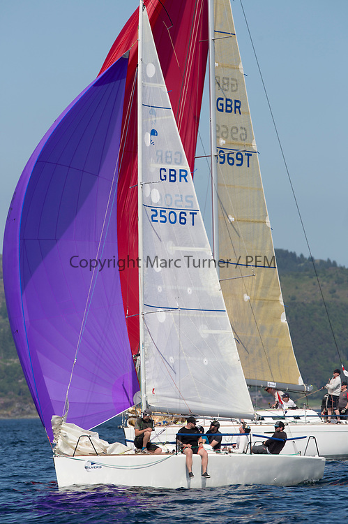 Silvers Marine Scottish Series 2017<br /> Tarbert Loch Fyne - Sailing<br /> <br /> GBR2506T, Edgy, Doug &amp; Alastair Paton, Fairlie Yacht Club, Beneteau 25