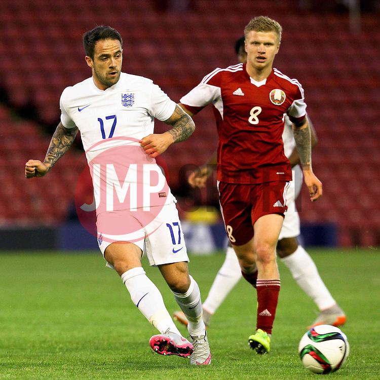 Danny Ings of England in action - Photo mandatory by-line: Matt McNulty/JMP - Mobile: 07966 386802 - 11/06/2015 - SPORT - Football - Barnsley - Oakwell Stadium - England U21 v Belarus U21 - International Friendly U21s