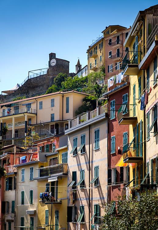RIOMAGGIORE, ITALY - CIRCA MAY 2015:  Balconies in the village of Riomaggiore in Cinque Terre, Italy.