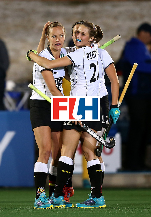 JOHANNESBURG, SOUTH AFRICA - JULY 18:  Jana Teschke of Germany celebrates at the final whistle with team mates during day 6 of the FIH Hockey World League Women's Semi Finals quarter final match between Germany and South Africa at Wits Univesity on July 18, 2017 in Johannesburg, South Africa.  (Photo by Jan Kruger/Getty Images for FIH)