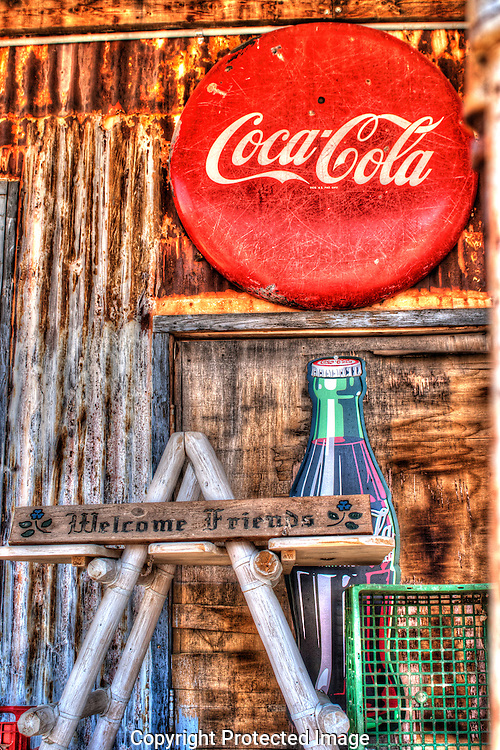 Old Coca Cola signs cover the walls of the Hackberry Store along Arizona's Route 66.