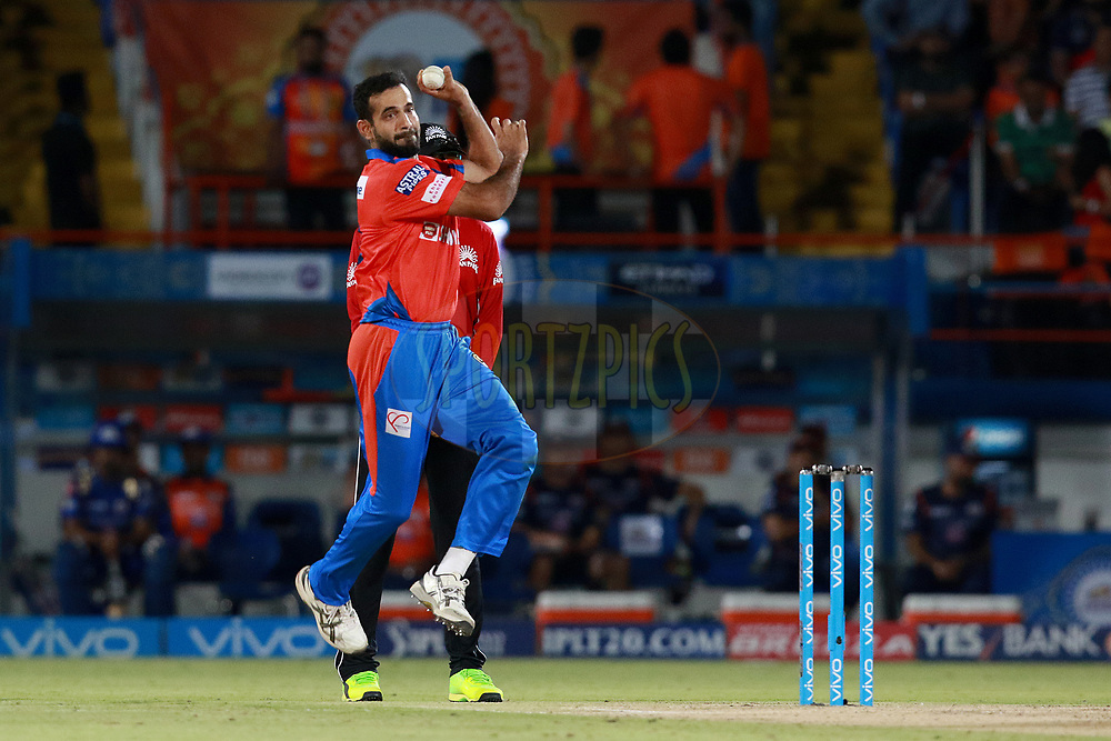 Irfan Pathan of GL bowls during match 35 of the Vivo 2017 Indian Premier League between the Gujarat Lions and the Mumbai Indians  held at the Saurashtra Cricket Association Stadium in Rajkot, India on the 29th April 2017<br /> <br /> Photo by Rahul Gulati - Sportzpics - IPL