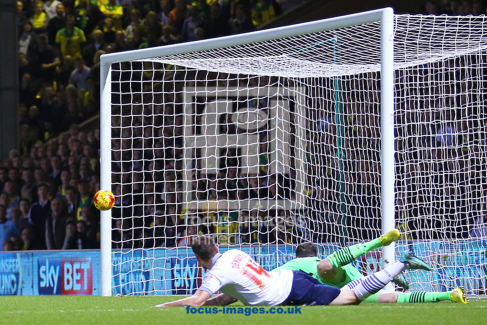 Nathan Redmond of Norwich City (out of picture) beats Andy Lonergan of Bolton Wanderers with this shot but it rebounds off the post during the Sky Bet Championship match at Carrow Road, Norwich<br /> Picture by Richard Calver/Focus Images Ltd +447792 981244<br /> 31/10/2014