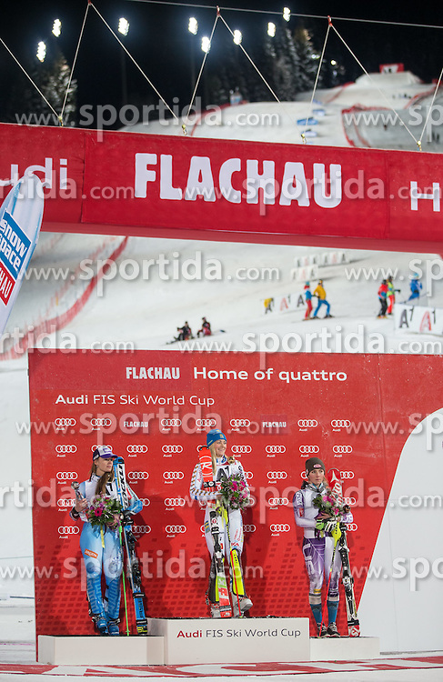 13.01.2015, Hermann Maier Weltcupstrecke, Flachau, AUT, FIS Weltcup Ski Alpin, Flachau, Damen, Slalom, Siegerehrung, im Bild v.l.: Tina Maze (SLO, 2. Platz), Frida Hansdotter (SWE, 1. Platz), Mikaela Shiffrin (USA, 3. Platz) // f.l.: 2nd placed Tina Maze of Slovenia Winner Frida Hansdotter of Sweden and 3rd placed Mikaela Shiffrin of the USA Celebrates on podium during victory ceremony after ladie's Slalom of FIS Ski Alpine Worldcup at the Hermann Maier Weltcupstrecke in Flachau, Austria on 2015/01/13. EXPA Pictures © 2015, PhotoCredit: EXPA/ Groder Johann