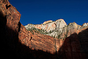Evening light on the cliffs of Zion Canyon, near the Temple of Sinawava, in Zion National Park, Utah.