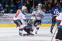 KELOWNA, CANADA - JANUARY 2:  Cody Fowlie #18, Zach Franko #9 and Damon Severson #7 celebrate a goal against the Victoria Royals at the Kelowna Rockets on January 2, 2013 at Prospera Place in Kelowna, British Columbia, Canada (Photo by Marissa Baecker/Shoot the Breeze) *** Local Caption ***