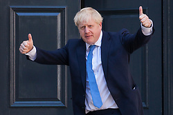 London, UK. 23 July, 2019.  Boris Johnson arrives at the headquarters of the Conservative Party following the announcement that he had been elected as the party leader and would tomorrow replace Theresa May as Prime Minister.