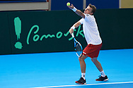 Sopot, Poland - 2018 April 06: Marcin Matkowski from Poland while training session one day before Poland v Zimbabwe Tie Group 2, Europe/Africa Second Round of Davis Cup by BNP Paribas at 100 years of Sopot Hall on April 06, 2018 in Sopot, Poland.<br /> <br /> Mandatory credit:<br /> Photo by © Adam Nurkiewicz / Mediasport<br /> <br /> Adam Nurkiewicz declares that he has no rights to the image of people at the photographs of his authorship.<br /> <br /> Picture also available in RAW (NEF) or TIFF format on special request.<br /> <br /> Any editorial, commercial or promotional use requires written permission from the author of image.