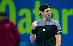 Tomas Berdych of Czech Republic celebrates his win over Pierre-Hugues HERBERT of France during theirQuarter - Final of ATP Qatar Open Tennis match at the Khalifa International Tennis Complex in Doha, capital of Qatar, on January 03, 2019. Tomas Berdych won 2-0  (Credit Image: © Nikku/Xinhua via ZUMA Wire)