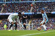 Gabriel Jesus of Man City runs at Leroy Fer of Swansea during the Premier League match between Manchester City and Swansea City at the Etihad Stadium, Manchester, England on 5 February 2017. Photo by Simon Brady.