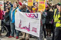 Pictured: <br /> University pensions row rally was held outside the Scottish Parliament in Edinburgh today. University staff were joined by politicians and students as part of the strike action event. <br /> <br /> Ger Harley | EEm 8 March 2018