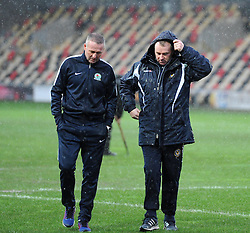 Blackburn Rovers Manager Paul Lambert and Newport County Manager John Sheridan are resigned to the FA Cup tie being called off by the referee due to waterlogging at Rodney Parade - Mandatory by-line: Paul Knight/JMP - Mobile: 07966 386802 - 09/01/2016 -  FOOTBALL - Rodney Parade - Newport, Wales -  Newport County v Blackburn Rovers - FA Cup third round