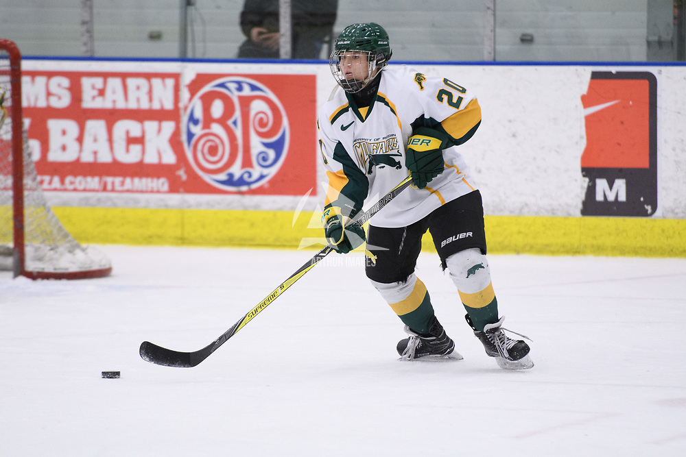 2nd year defence man Mariah McKersie (20) of the Regina Cougars in action during the Women's Hockey home game on February 9 at Co-operators arena. Credit: Arthur Ward/Arthur Images